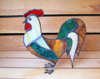 Stained Glass Rooster Rustic 3D Ornament Stand-Up Handmade OOAK