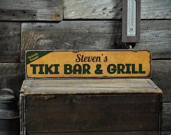 Tiki Bar Sign, Custom Tiki Sign, Tiki Decor, Wood Tiki Sign, Tiki Bar Decor, Beach Bar Sign, Rustic Hand Made Vintage Wooden Sign ENS1001204