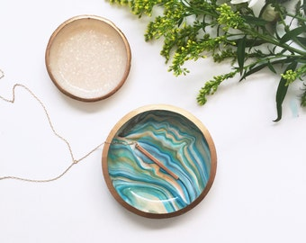 BESTSELLER! TURQUOISE MARBLE // Polymer Clay Jewelry Dish, Ring Dish, Trinket Dish, Ring Holder, gifts for her