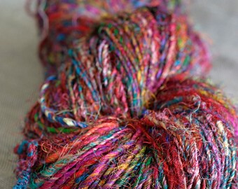 Recycled Sari Silk Yarn - In Living Colour - Premium 210gm