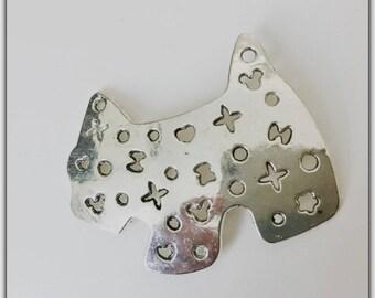 Large dog connector, 5 cm, silver pendant
