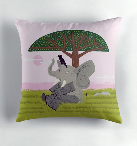 The Elephant and The Eagle - children's decor - Cushion cover / Throw Pillow cover including insert by Oliver Lake iOTA iLLUSTRATiON