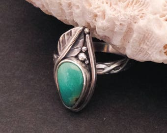 Turquoise Ring, Size 7 3/4 Artisan Silversmith Leaf Design with Carico Lake Turquose Solitaire or Stacking Ring,Bohemian  Nature Lover Gift