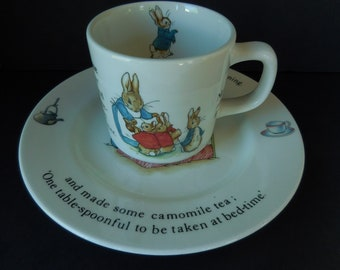 Peter Rabbit Childs Cup and Saucer/Beatrix Potter Wedgwood Porcelain 1985