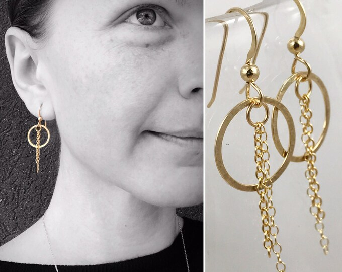 """Featured listing image: Circle Tassel Earrings- 14k Yellow Gold Filled - Subtle Hammered Texture - """"Sunbeam"""" Earrings"""