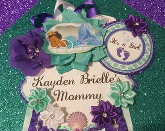 Baby Mermaid Aqua & Purple Themed Mommy To Be Baby Shower Corsage