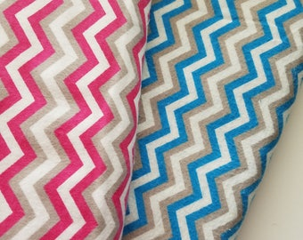 Chevron-Pink or Blue Flannel Fabric