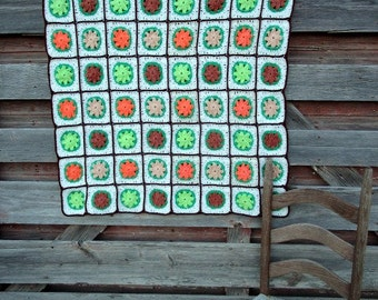 Vintage Afghan Crochet  3D Flowers Green orange Browns Fall Autumn