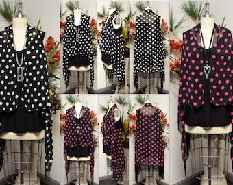 Polka Dot Kimono, Polka dot Poncho, Polka dot Vest, Polka dot Duster, Polka dot coverup with tassels, Fits S, M and Large