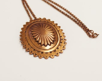 Vintage Copper Pendant with Copper Chain 23 inches- NK1052