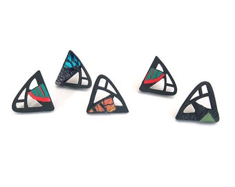 Limited edition designer earrings, contemporary jewelry design, laser cut wood, colored polymer, sterling silver studs, original, handmade