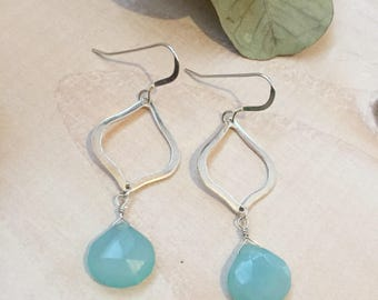 Aqua Blue Chalcedony and Sterling Silver Marquee Earrings