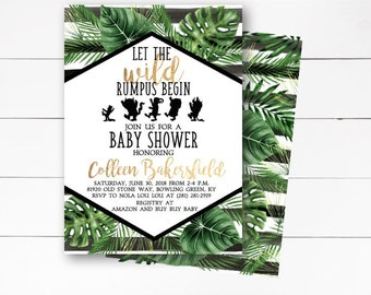 Wild Things Are Baby Shower Invitation, Where the Wild Things Are Baby Shower Invitation, Baby Shower Invitation, Wild Rumpus, DIY/Printed