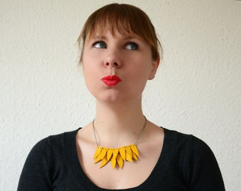 Yellow statement necklace Yellow necklace Yellow leather necklace Geometric necklace Yellow bib necklace  Choker necklace Banana necklace