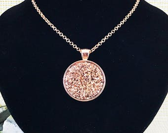 Rose Gold Druzy Necklace - Rose Gold Jewelry - Rose Gold Necklace - Druzy Jewelry - Drusy - Druzy - Necklace - Pendant - Gift - Rose Gold -