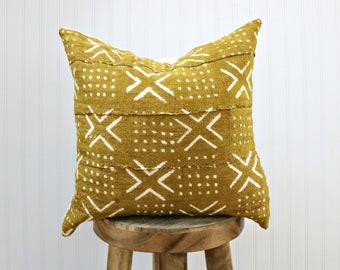 Senf, Baum Kissenbezug mit weißem Druck / / Gelb Safran afrikanischen Textil gewebt minimalistische geometrische weiß X Druck werfen Kissen
