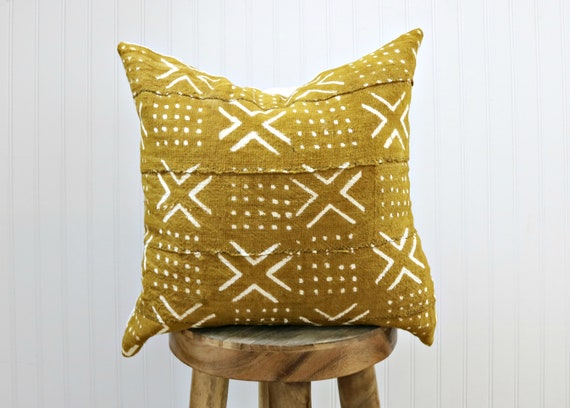 Mustard Mudcloth Pillow Cover With White Print // Yellow Saffron African Textile Woven Minimalist Geometric White X Print Throw Cushion by Etsy