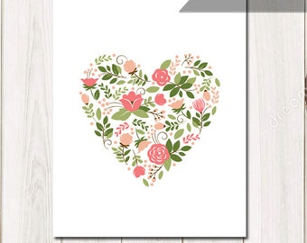 Sweet flower heart, instant download, printable art, wall art