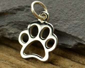 Sterling Silver Openwork Paw Print Charm