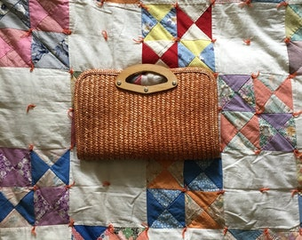 Vintage Straw Woven Clutch Purse