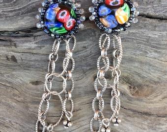 Beaded Millefiore Post Earrings