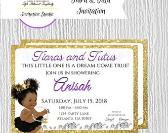 Tiara and Tutu Baby Shower Invite - Printable Invitations - Baby Shower Invitation - Girl Baby Shower - Pearl Baby Shower