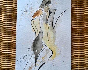 Tango 3. Original not print, watercolour dance art. 12cm x 21cm