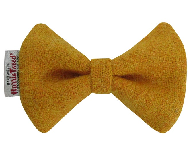 Harris Tweed Mustard Designer Dog Bow Tie