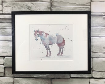 "Horse art Framed original - ""Purple Horse"" - watercolor and ink painting"