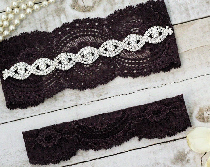 Plum Wedding Garter Set NO SLIP grip, PLUM G19S-G*