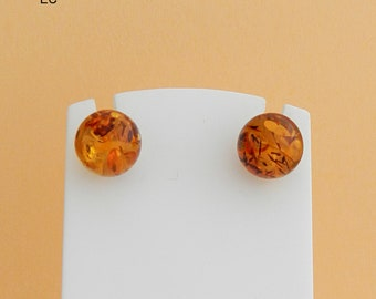 Amber and silver balls earrings