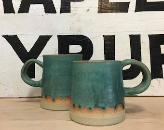 Teal Scalloped Ceramic Coffee Mugs | Modern Home | Handmade Pottery