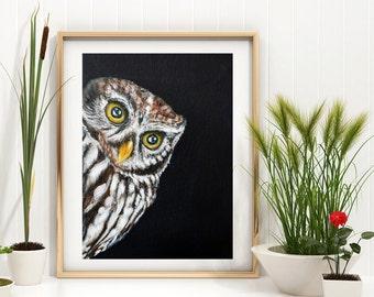 Owl Painting - art print, peeping owl, owl painting, Tawny Owl