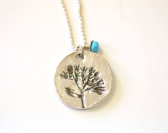 Sterling long necklace with turquoise