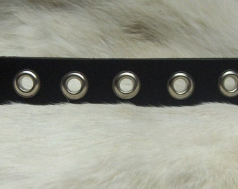 Black Leather Wristband ~Cuff~ Grommets~ Men or  Woman's Wristband~