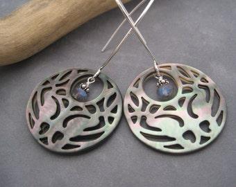 Abalone Shell Earrings - Carved Abalone Jewelry - Labradorite Earrings - Dangle Earrings - Summer Jewelry - Hoops - Abalone Earrings