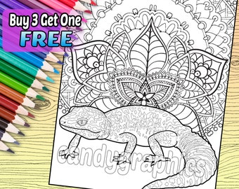 Leopard Gecko - Adult Coloring Book Page - Printable Instant Download