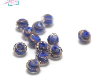 """4 beautiful blue """"wave"""" in 8 x 6 mm faceted rondelle Lampwork beads"""
