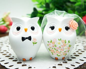 Owl Wedding Cake Toppers Fall Themed,Personalised Wedding Cake Toppers Pink Themed,Love Bird Wedding Cake Toppers With Pink Bouquet