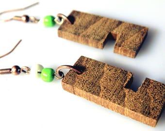 Wooden Earrings From Iroko Wood / handmade / wood boho earrings