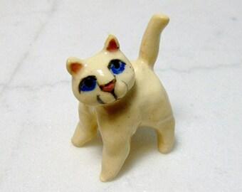 White Cat Terrarium Miniature -  All White Kitten - Miniature Figurine - Pottery Cat Sculpture - Clay Animal - Fairy Garden Figurine