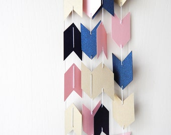 Arrow Garland in Navy Light Pink and Gold Leaf
