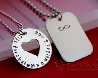 Mother's Day Gift from Son - Mother Son Necklace Set - The Love Between Mother and Son is Forever