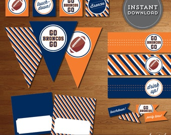 Denver Broncos Superbowl Party Printables - Instant Download