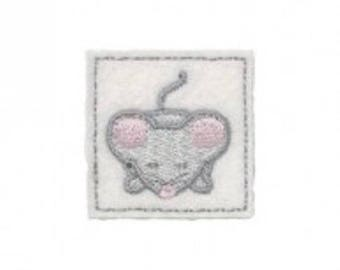 Fusible, square, tile with a mouse