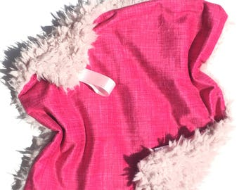 READY TO SHIP,Pink Lovey, Baby Lovey, Baby Blanket, Baby minky blanket, girl blanket, pink blanket, pink lovey, faux fur lovey, Baby Girl