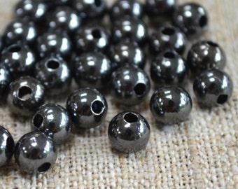 500pcs  Metal Bead Round 6mm Gunmetal Black Steel 2mm hole
