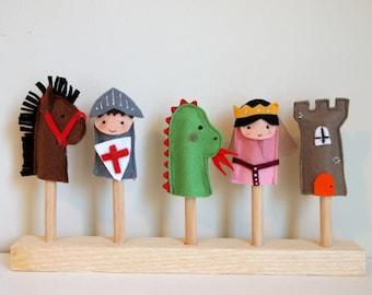 Finger puppets. Set of five felt finger puppets.