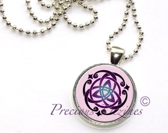 Trinity Knot Pendant. Triquetra trinity knot Celtic knot necklace in pink and purple