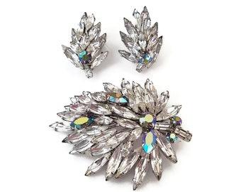 Austria Ice Rhinestone Brooch Earrings Set - Aurora Borealis, Silver Rhodium, Vintage Brooch, Vintage Earrings, Wedding Jewelry